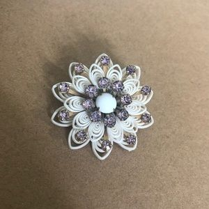 Flower Brooch Pin White And Purple Church Petals